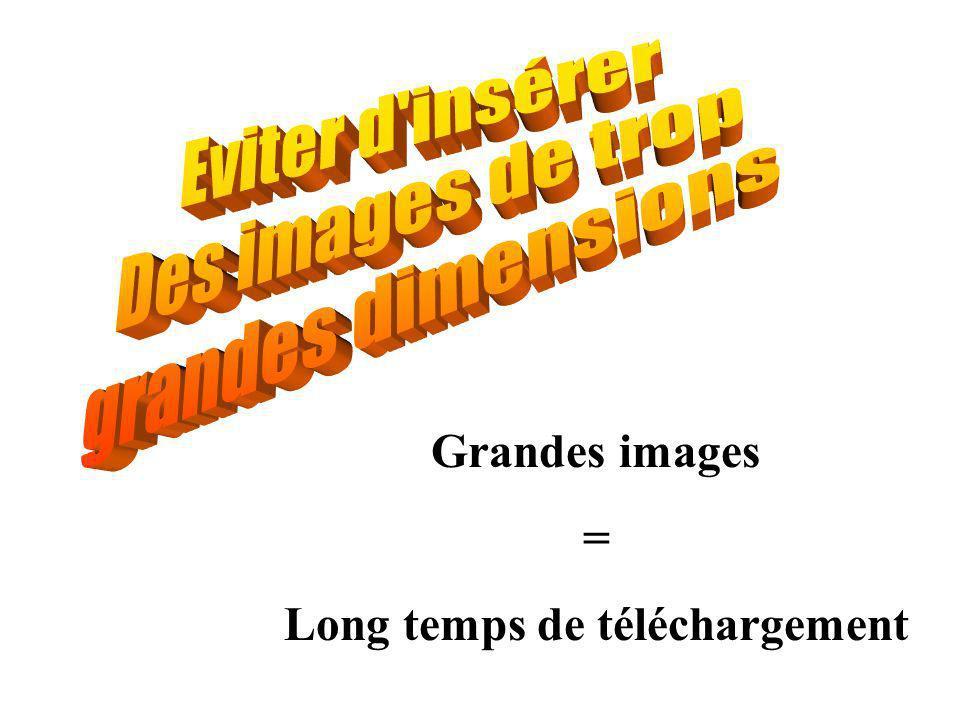 Grandes images = Long temps de téléchargement