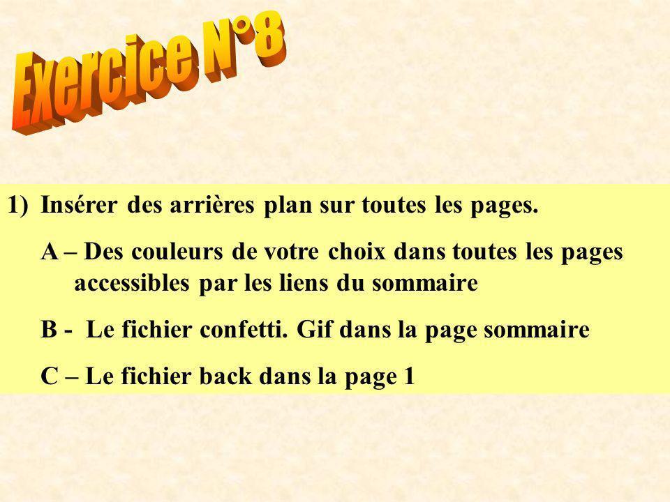 1)Insérer des arrières plan sur toutes les pages.