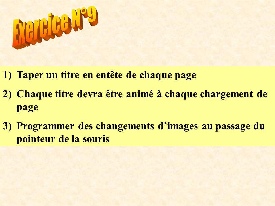1)Taper un titre en entête de chaque page 2)Chaque titre devra être animé à chaque chargement de page 3)Programmer des changements dimages au passage