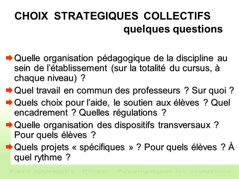 CHOIX STRATEGIQUES COLLECTIFS quelques questions Quelle organisation pédagogique de la discipline au sein de létablissement (sur la totalité du cursus, à chaque niveau) .