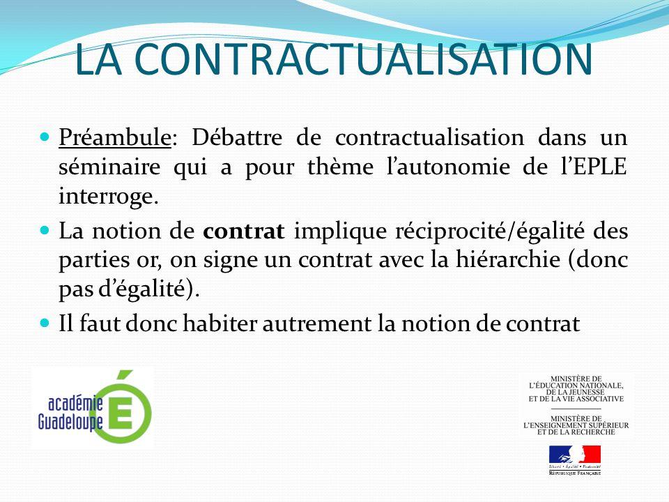 LA CONTRACTUALISATION Préambule: Débattre de contractualisation dans un séminaire qui a pour thème lautonomie de lEPLE interroge.