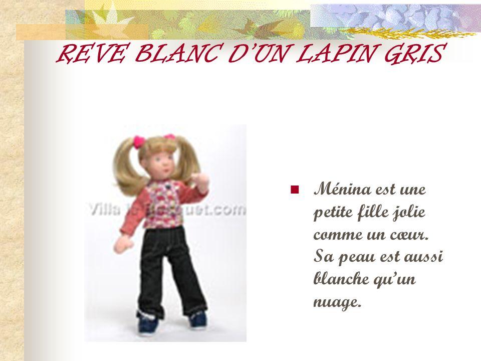 REVE BLANC DUN LAPIN GRIS Ménina est une petite fille jolie comme un cœur. Sa peau est aussi blanche quun nuage.