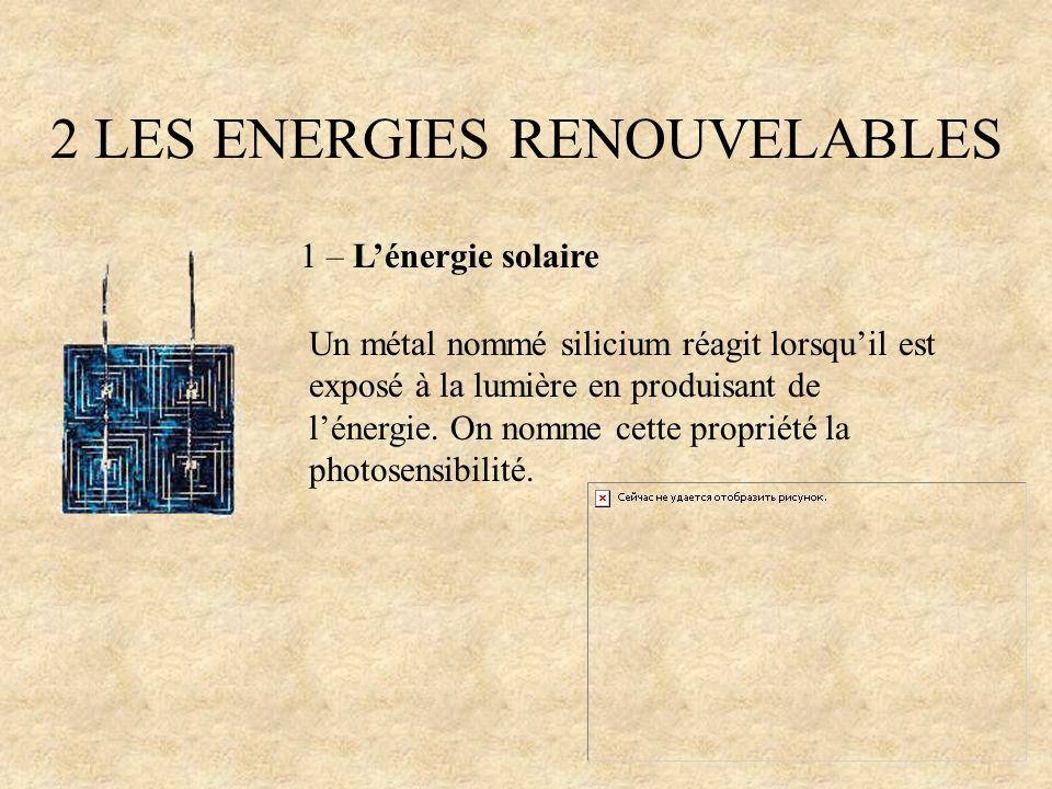 2 LES ENERGIES RENOUVELABLES 1 – Lénergie solaire Un métal nommé silicium réagit lorsquil est exposé à la lumière en produisant de lénergie. On nomme