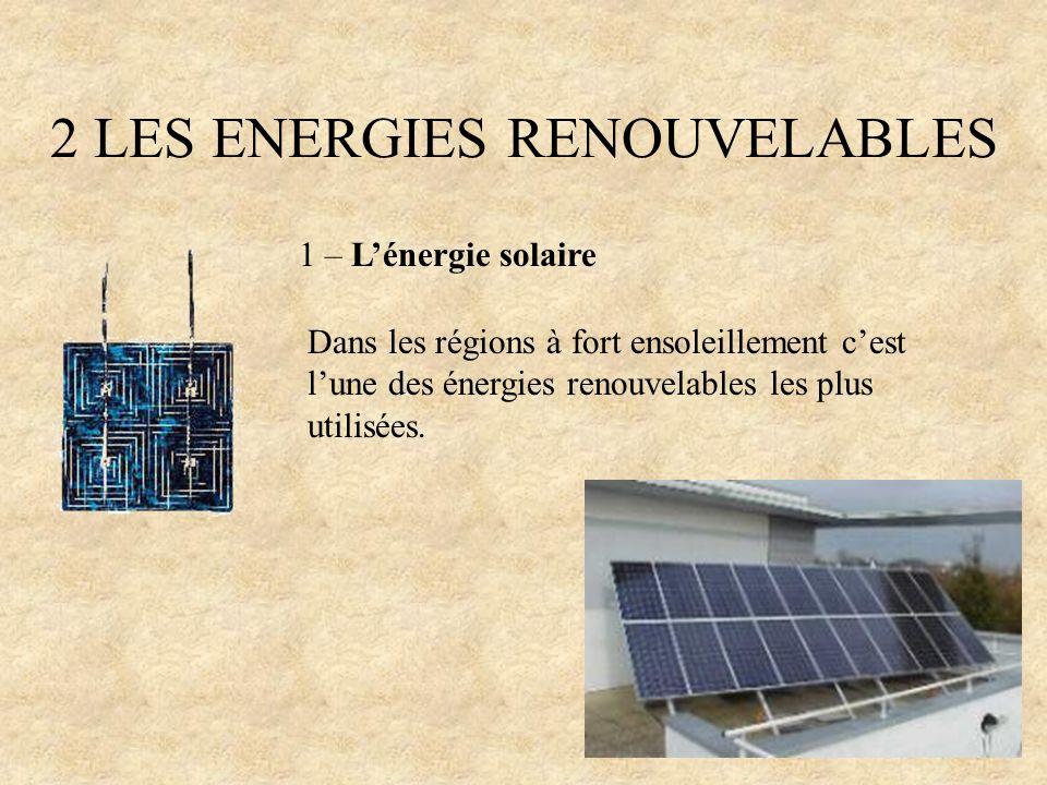 2 LES ENERGIES RENOUVELABLES 1 – Lénergie solaire Dans les régions à fort ensoleillement cest lune des énergies renouvelables les plus utilisées.