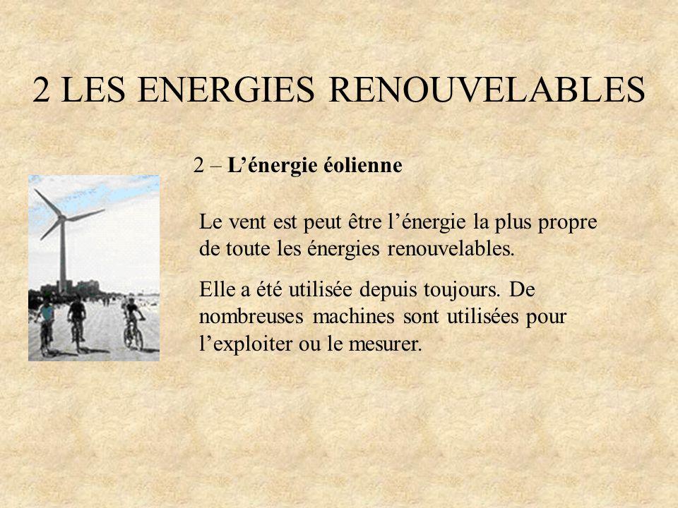 2 LES ENERGIES RENOUVELABLES 2 – Lénergie éolienne Le vent est peut être lénergie la plus propre de toute les énergies renouvelables. Elle a été utili