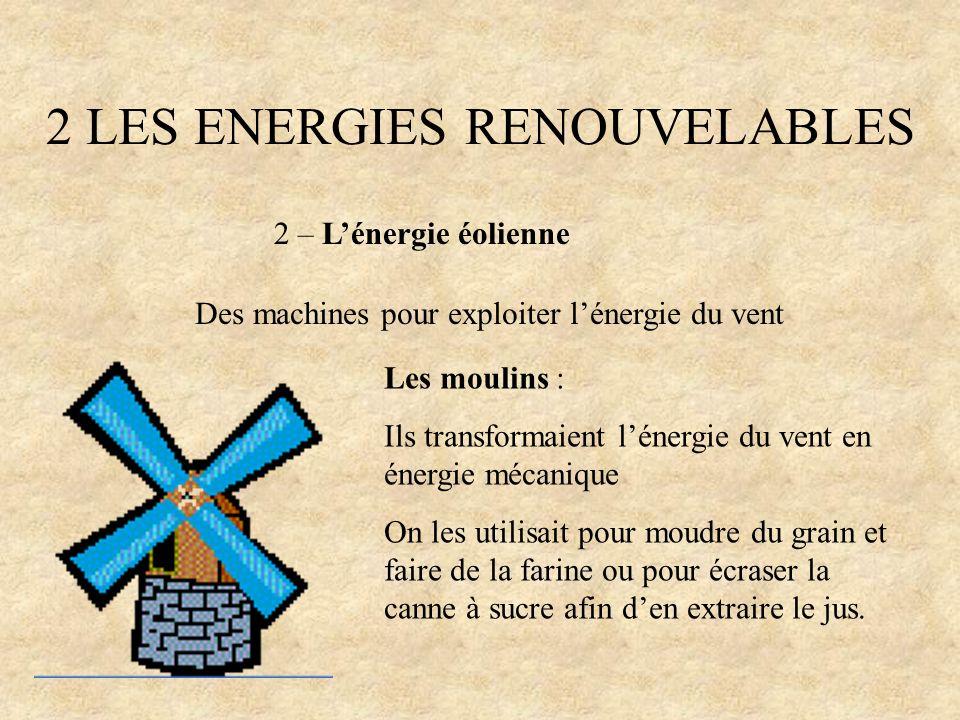 2 LES ENERGIES RENOUVELABLES 2 – Lénergie éolienne Des machines pour exploiter lénergie du vent Les moulins : Ils transformaient lénergie du vent en é