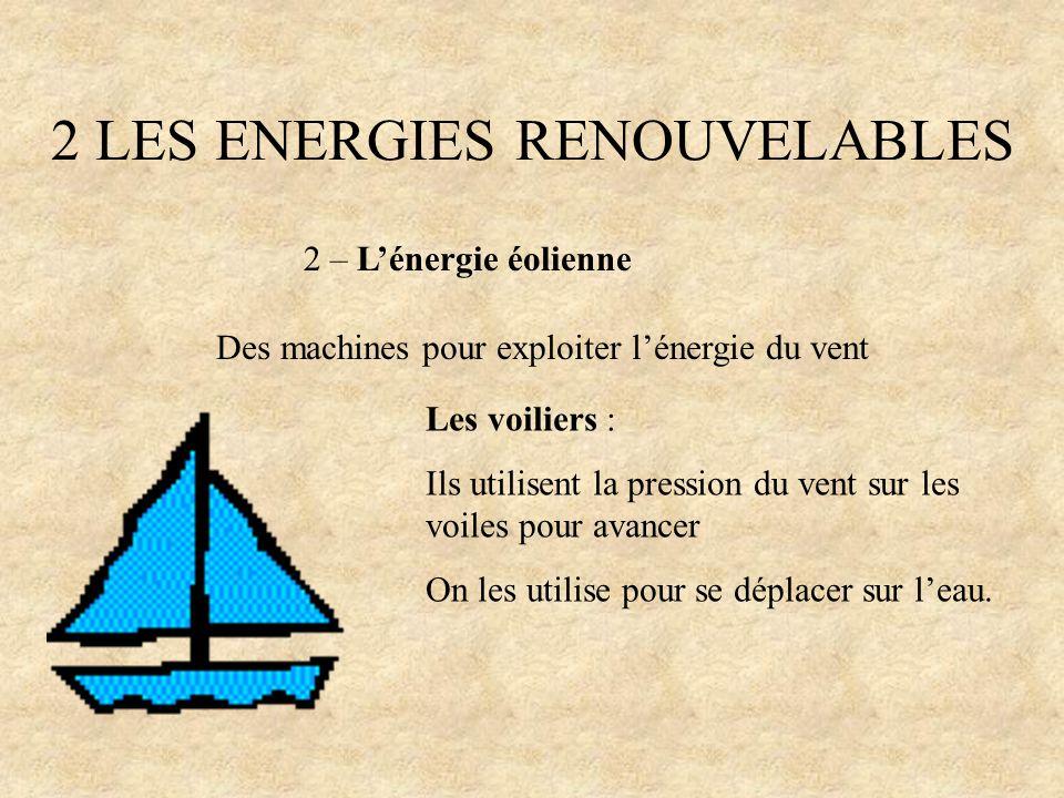 2 LES ENERGIES RENOUVELABLES 2 – Lénergie éolienne Des machines pour exploiter lénergie du vent Les voiliers : Ils utilisent la pression du vent sur l