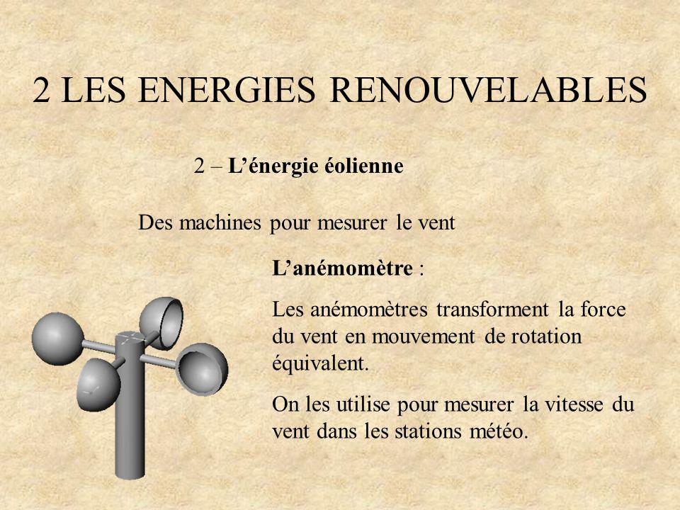 2 LES ENERGIES RENOUVELABLES 2 – Lénergie éolienne Des machines pour mesurer le vent Lanémomètre : Les anémomètres transforment la force du vent en mo