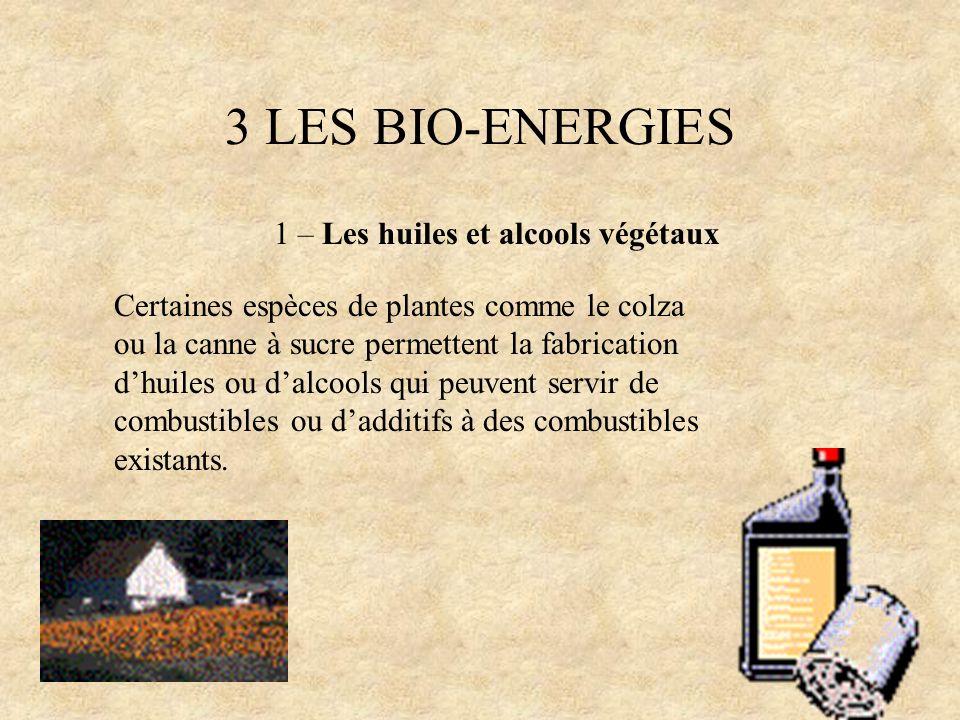 3 LES BIO-ENERGIES 1 – Les huiles et alcools végétaux Certaines espèces de plantes comme le colza ou la canne à sucre permettent la fabrication dhuile