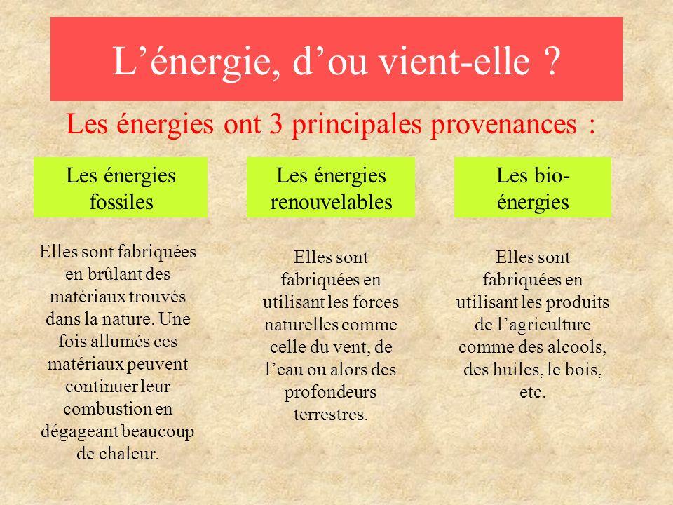Lénergie, dou vient-elle ? Les énergies ont 3 principales provenances : Les énergies fossiles Les bio- énergies Elles sont fabriquées en brûlant des m