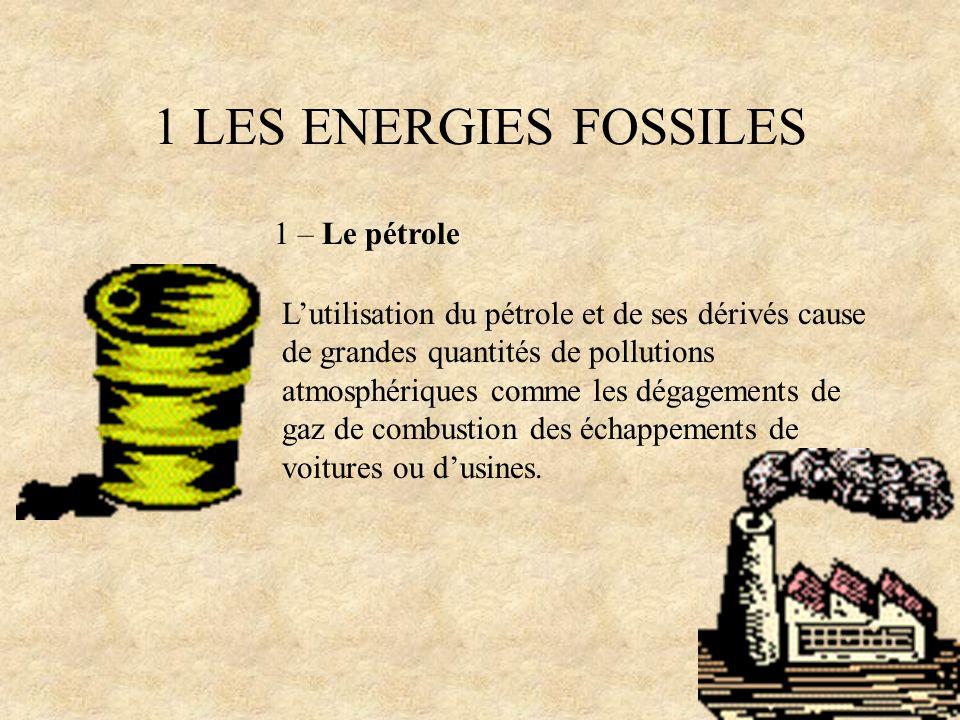 1 LES ENERGIES FOSSILES 1 – Le pétrole Lutilisation du pétrole et de ses dérivés cause de grandes quantités de pollutions atmosphériques comme les dég