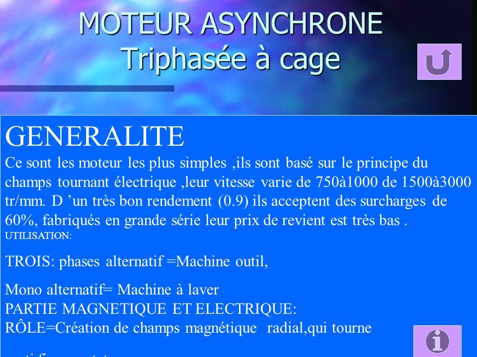 MOTEUR ASYNCHRONE Triphasée à cage GENERALITE Ce sont les moteur les plus simples,ils sont basé sur le principe du champs tournant électrique,leur vit