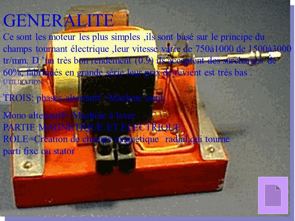 GENERALITE Ce sont les moteur les plus simples,ils sont basé sur le principe du champs tournant électrique,leur vitesse varie de 750à1000 de 1500à3000