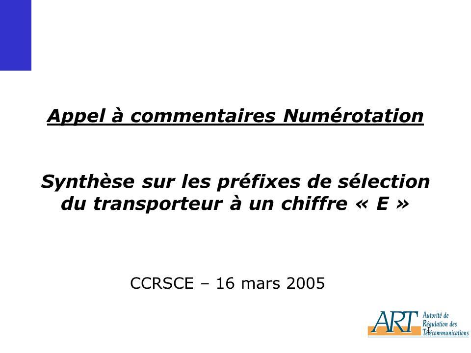 1 Appel à commentaires Numérotation Synthèse sur les préfixes de sélection du transporteur à un chiffre « E » CCRSCE – 16 mars 2005