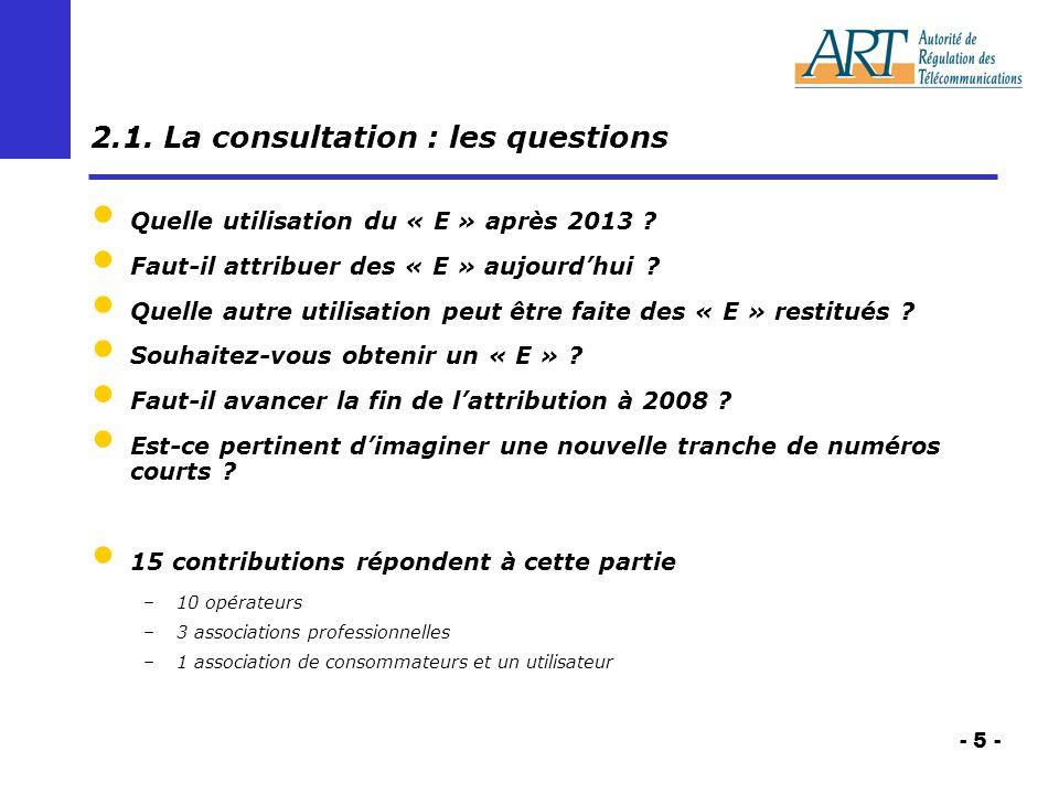 - 5 - 2.1. La consultation : les questions Quelle utilisation du « E » après 2013 .