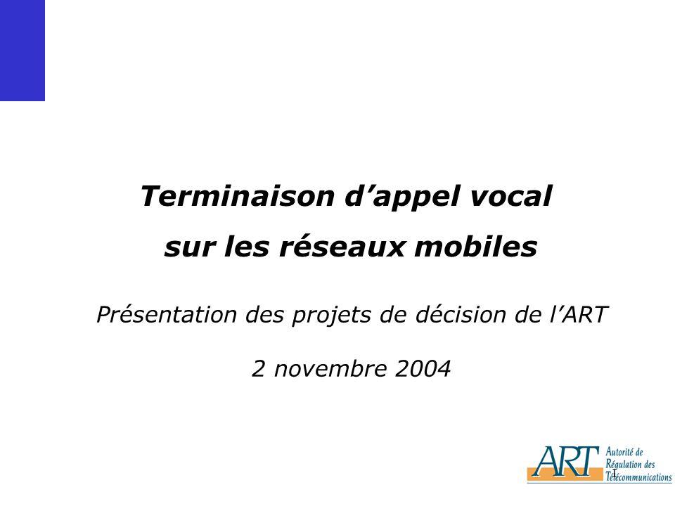 1 Présentation des projets de décision de lART 2 novembre 2004 Terminaison dappel vocal sur les réseaux mobiles
