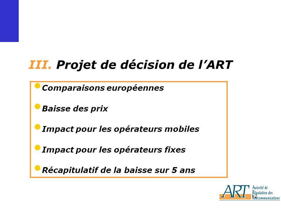 12 III. Projet de décision de lART Comparaisons européennes Baisse des prix Impact pour les opérateurs mobiles Impact pour les opérateurs fixes Récapi