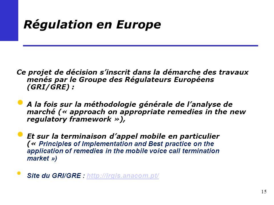 15 Régulation en Europe Ce projet de décision sinscrit dans la démarche des travaux menés par le Groupe des Régulateurs Européens (GRI/GRE) : A la foi