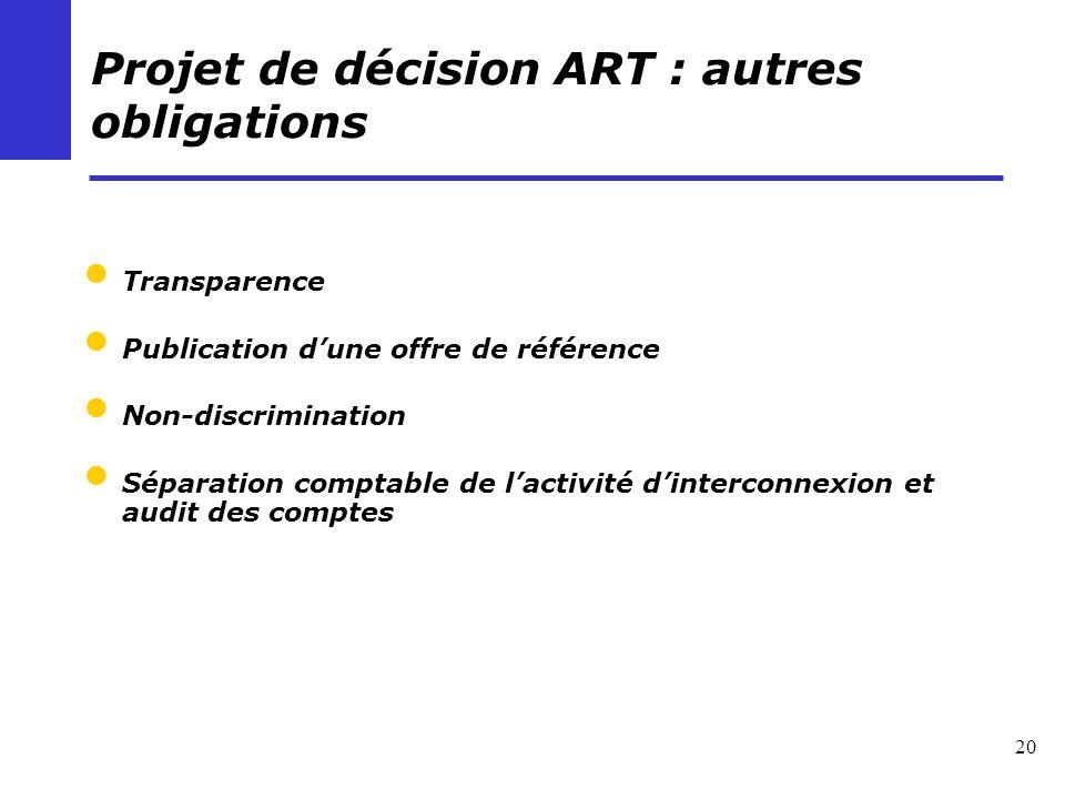 20 Projet de décision ART : autres obligations Transparence Publication dune offre de référence Non-discrimination Séparation comptable de lactivité d