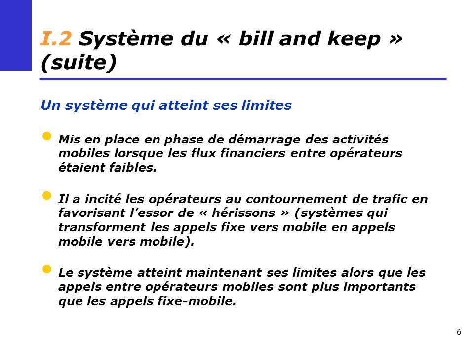 6 I.2 Système du « bill and keep » (suite) Un système qui atteint ses limites Mis en place en phase de démarrage des activités mobiles lorsque les flux financiers entre opérateurs étaient faibles.