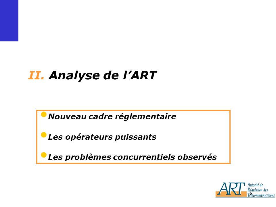 8 II. Analyse de lART Nouveau cadre réglementaire Les opérateurs puissants Les problèmes concurrentiels observés
