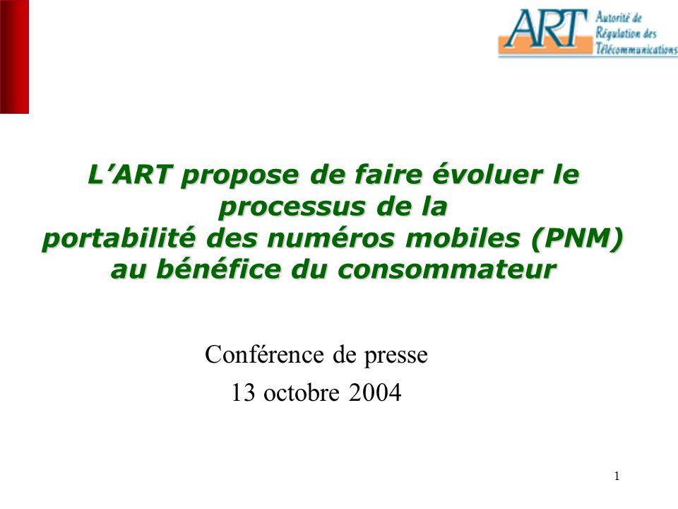 1 LART propose de faire évoluer le processus de la portabilité des numéros mobiles (PNM) au bénéfice du consommateur Conférence de presse 13 octobre 2004