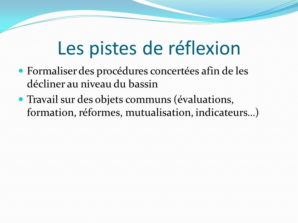 Les pistes de réflexion Formaliser des procédures concertées afin de les décliner au niveau du bassin Travail sur des objets communs (évaluations, for