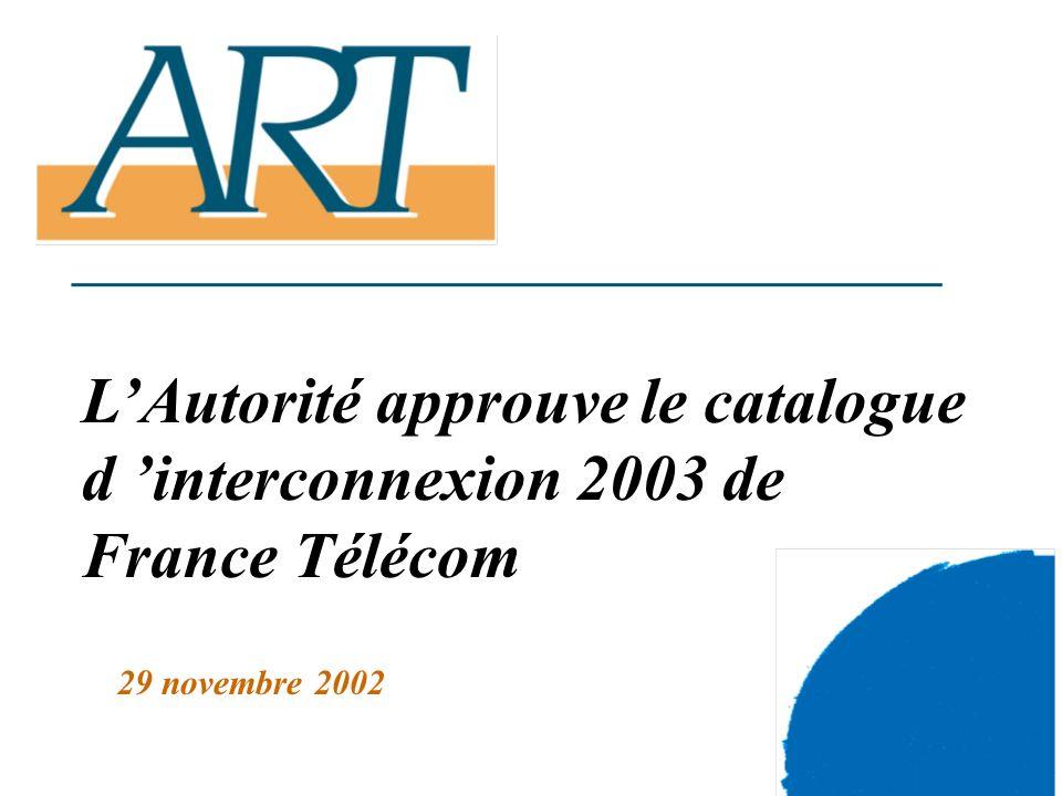 1 LAutorité approuve le catalogue d interconnexion 2003 de France Télécom 29 novembre 2002