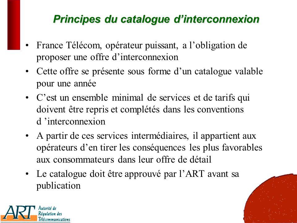 2 Principes du catalogue dinterconnexion France Télécom, opérateur puissant, a lobligation de proposer une offre dinterconnexion Cette offre se présen