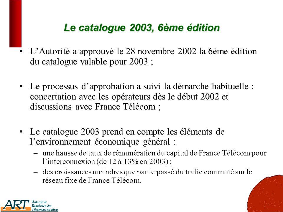 5 Le catalogue 2003, 6ème édition LAutorité a approuvé le 28 novembre 2002 la 6ème édition du catalogue valable pour 2003 ; Le processus dapprobation