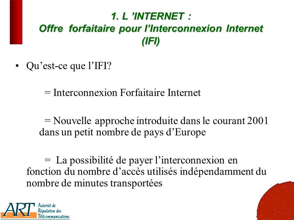 7 1. L INTERNET : Offre forfaitaire pour lInterconnexion Internet (IFI) Quest-ce que lIFI? = Interconnexion Forfaitaire Internet = Nouvelle approche i