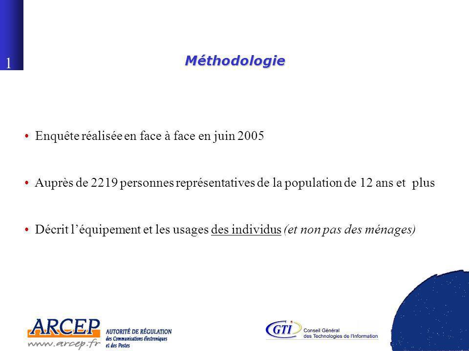 0 La diffusion des technologies de linformation dans la société française Conférence de presse Mardi 6 décembre 2005 Étude réalisée par le CREDOC pour lARCEP et le CGTI
