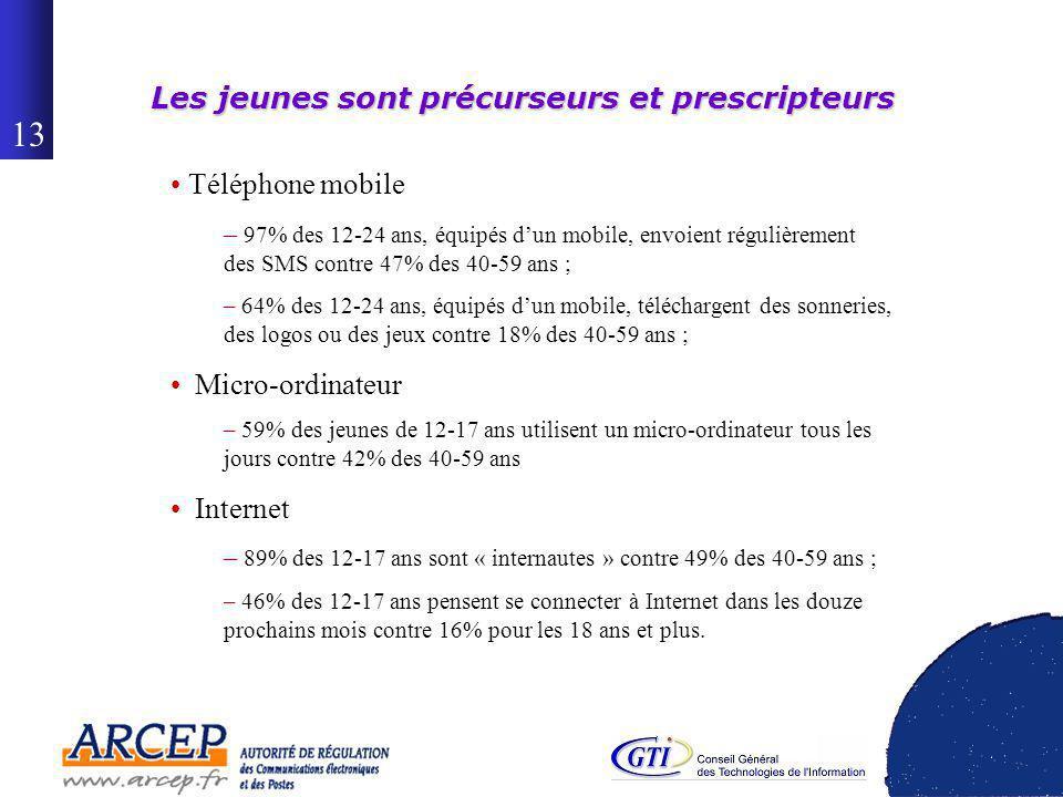12 40% de la population de 12 ans et plus dispose dune connexion à Internet à domicile en juin 2005 Taux d équipement à domicile -Champ : personnes de 18 ans et plus – -(en %)- 12