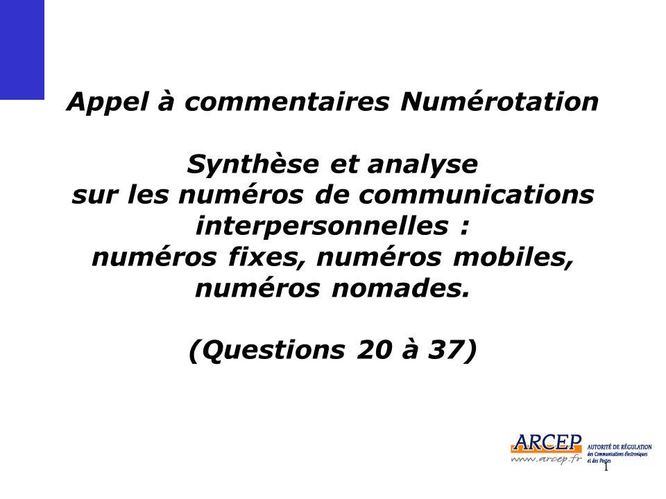 1 Appel à commentaires Numérotation Synthèse et analyse sur les numéros de communications interpersonnelles : numéros fixes, numéros mobiles, numéros nomades.