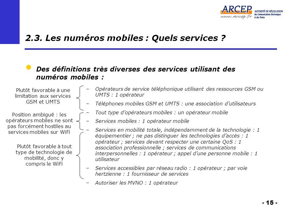 - 15 - 2.3. Les numéros mobiles : Quels services .