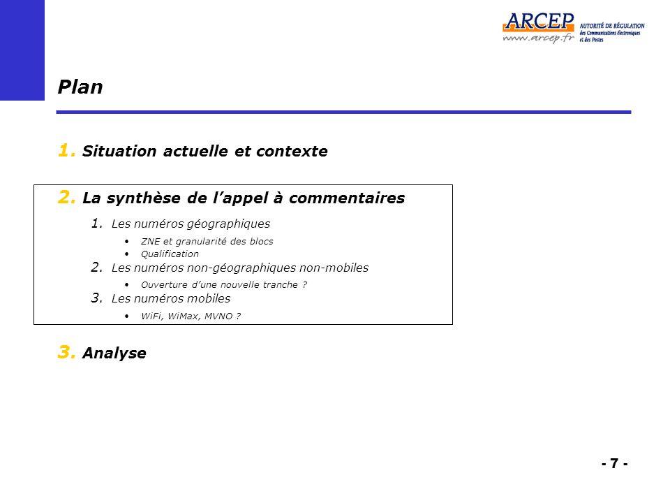 - 7 - Plan 1. Situation actuelle et contexte 2. La synthèse de lappel à commentaires 1.