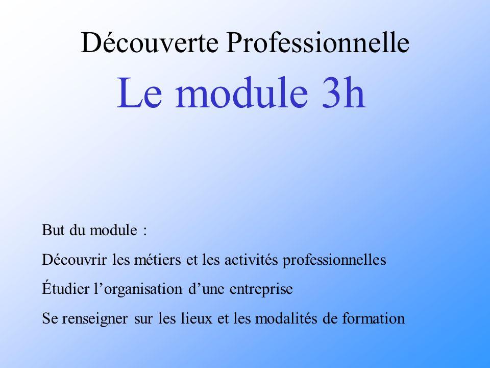 But du module : Découvrir les métiers et les activités professionnelles Étudier lorganisation dune entreprise Se renseigner sur les lieux et les modalités de formation Découverte Professionnelle Le module 3h