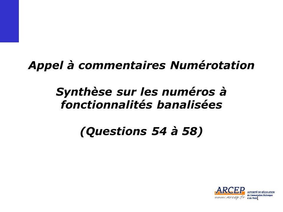 1 Appel à commentaires Numérotation Synthèse sur les numéros à fonctionnalités banalisées (Questions 54 à 58)