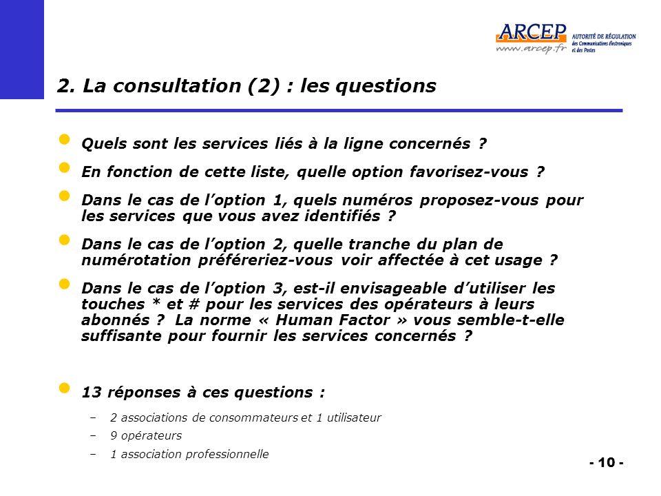 - 10 - 2. La consultation (2) : les questions Quels sont les services liés à la ligne concernés ? En fonction de cette liste, quelle option favorisez-