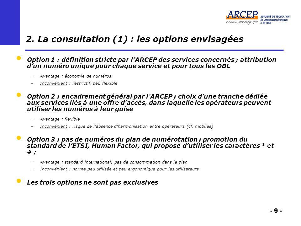 - 9 - 2. La consultation (1) : les options envisagées Option 1 : définition stricte par lARCEP des services concernés ; attribution dun numéro unique