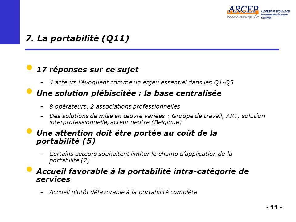 - 11 - 7. La portabilité (Q11) 17 réponses sur ce sujet –4 acteurs lévoquent comme un enjeu essentiel dans les Q1-Q5 Une solution plébiscitée : la bas