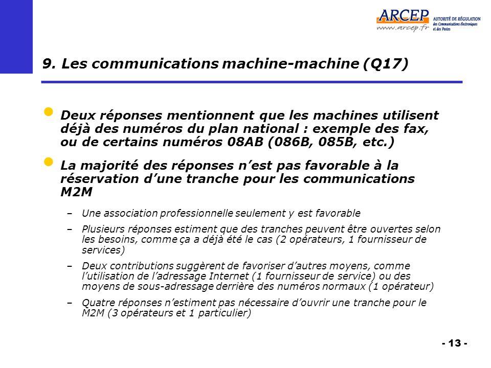 - 13 - 9. Les communications machine-machine (Q17) Deux réponses mentionnent que les machines utilisent déjà des numéros du plan national : exemple de