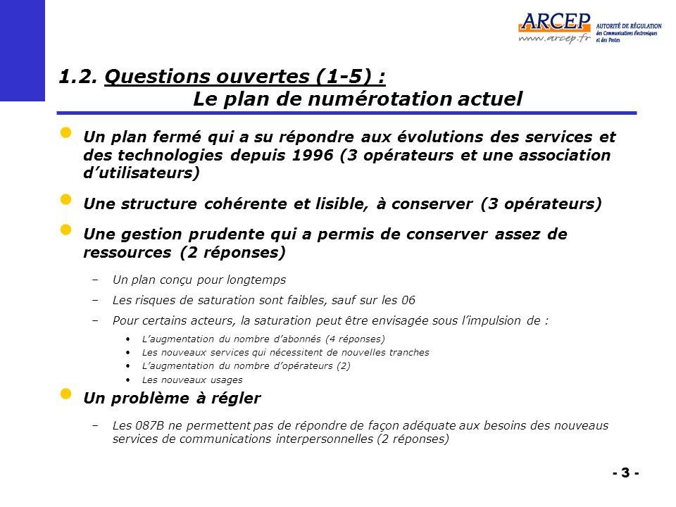 - 3 - 1.2. Questions ouvertes (1-5) : Le plan de numérotation actuel Un plan fermé qui a su répondre aux évolutions des services et des technologies d