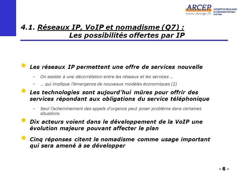 - 6 - 4.1. Réseaux IP, VoIP et nomadisme (Q7) : Les possibilités offertes par IP Les réseaux IP permettent une offre de services nouvelle –On assiste