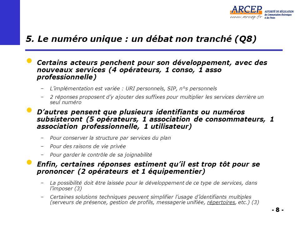 - 8 - 5. Le numéro unique : un débat non tranché (Q8) Certains acteurs penchent pour son développement, avec des nouveaux services (4 opérateurs, 1 co