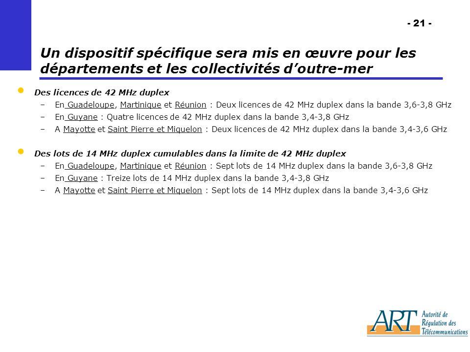 - 21 - Un dispositif spécifique sera mis en œuvre pour les départements et les collectivités doutre-mer Des licences de 42 MHz duplex –En Guadeloupe, Martinique et Réunion : Deux licences de 42 MHz duplex dans la bande 3,6-3,8 GHz –En Guyane : Quatre licences de 42 MHz duplex dans la bande 3,4-3,8 GHz –A Mayotte et Saint Pierre et Miquelon : Deux licences de 42 MHz duplex dans la bande 3,4-3,6 GHz Des lots de 14 MHz duplex cumulables dans la limite de 42 MHz duplex –En Guadeloupe, Martinique et Réunion : Sept lots de 14 MHz duplex dans la bande 3,6-3,8 GHz –En Guyane : Treize lots de 14 MHz duplex dans la bande 3,4-3,8 GHz –A Mayotte et Saint Pierre et Miquelon : Sept lots de 14 MHz duplex dans la bande 3,4-3,6 GHz