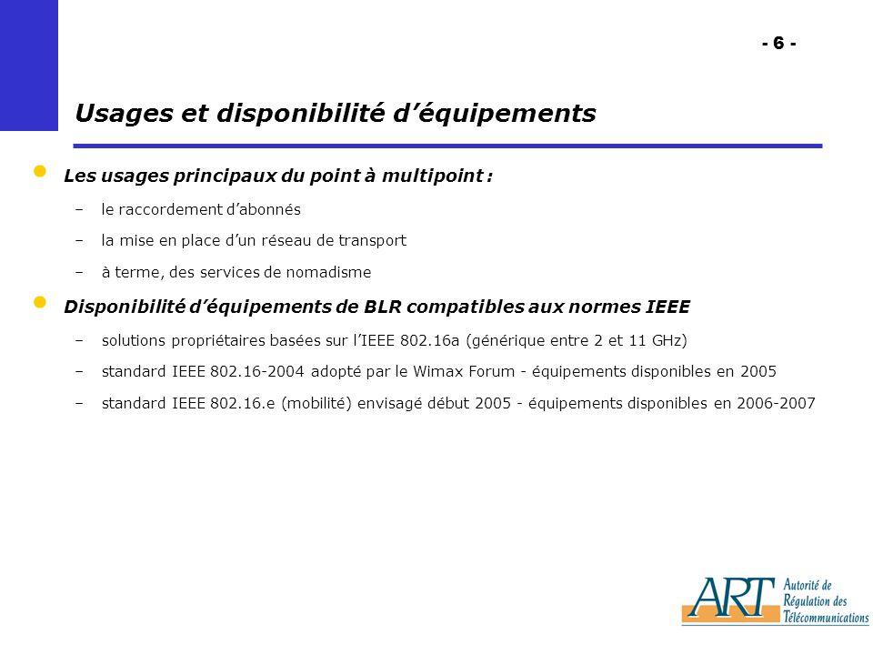 - 6 - Usages et disponibilité déquipements Les usages principaux du point à multipoint : –le raccordement dabonnés –la mise en place dun réseau de transport –à terme, des services de nomadisme Disponibilité déquipements de BLR compatibles aux normes IEEE –solutions propriétaires basées sur lIEEE 802.16a (générique entre 2 et 11 GHz) –standard IEEE 802.16-2004 adopté par le Wimax Forum - équipements disponibles en 2005 –standard IEEE 802.16.e (mobilité) envisagé début 2005 - équipements disponibles en 2006-2007