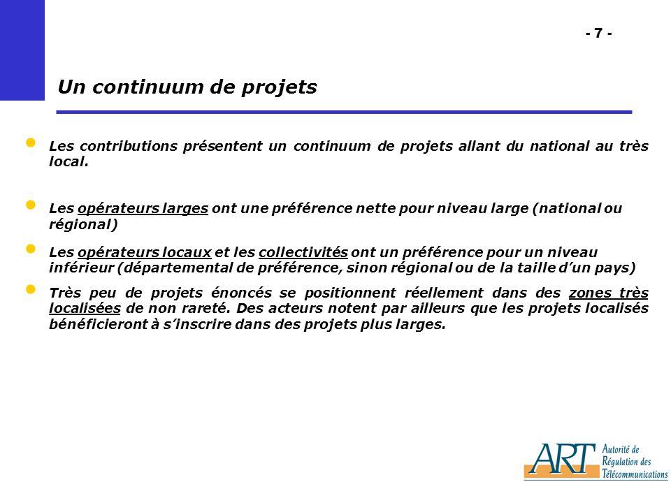 - 7 - Les contributions présentent un continuum de projets allant du national au très local.