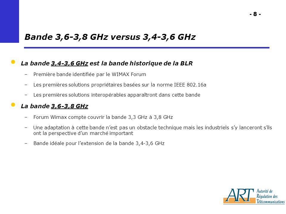 - 8 - Bande 3,6-3,8 GHz versus 3,4-3,6 GHz La bande 3,4-3,6 GHz est la bande historique de la BLR –Première bande identifiée par le WIMAX Forum –Les premières solutions propriétaires basées sur la norme IEEE 802.16a –Les premières solutions interopérables apparaîtront dans cette bande La bande 3,6-3,8 GHz –Forum Wimax compte couvrir la bande 3,3 GHz à 3,8 GHz –Une adaptation à cette bande nest pas un obstacle technique mais les industriels sy lanceront sils ont la perspective dun marché important –Bande idéale pour lextension de la bande 3,4-3,6 GHz