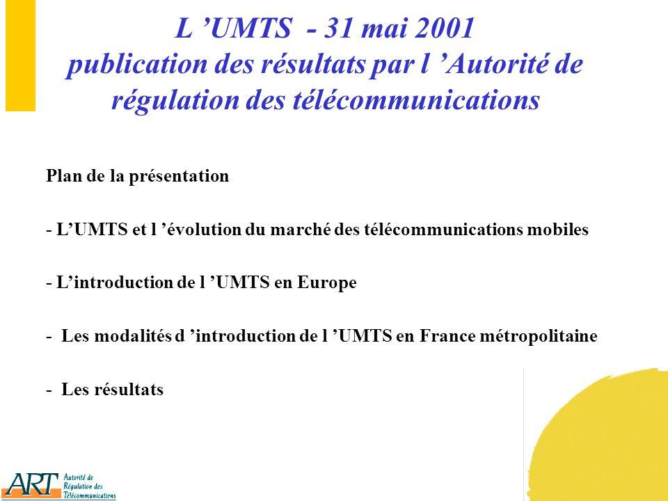 14 III Les modalités d introduction de l UMTS en France métropolitaine